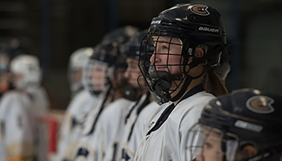 Players on the sideline help support their fellow Blugolds as they dominate the game 5-1 on Friday night against Saint Mary's University (Minn.) at Hobbs Ice Arena.