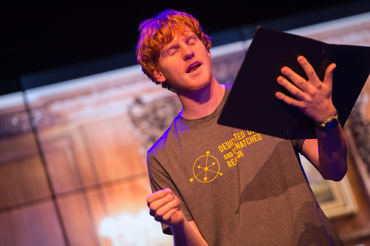 """Tyler Fridley, computer science and theatre arts student, played physicist Werner Heisenberg in the play """"Copenhagen"""" during the Art AND Science: Dedicated Desire and Unmatched Reason reader's theatre."""