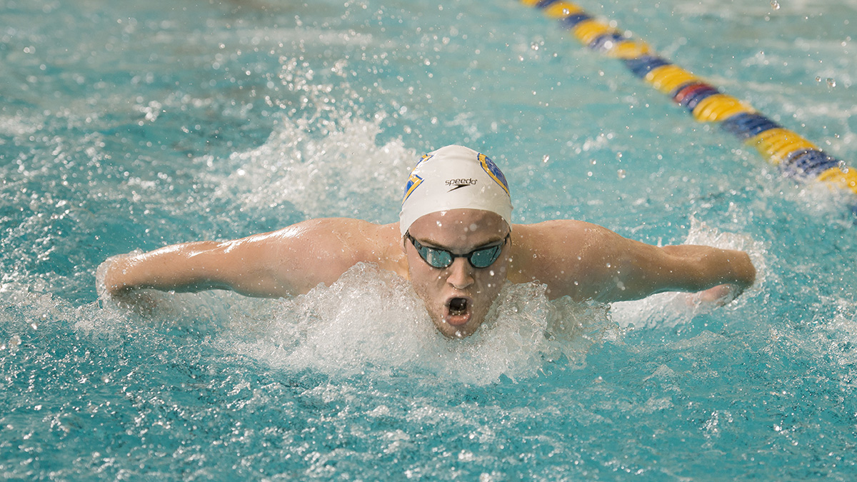 Ryan Young, pictured, took second this weekend in the 200-yard butterfly with a time of 1:53.84 minutes.