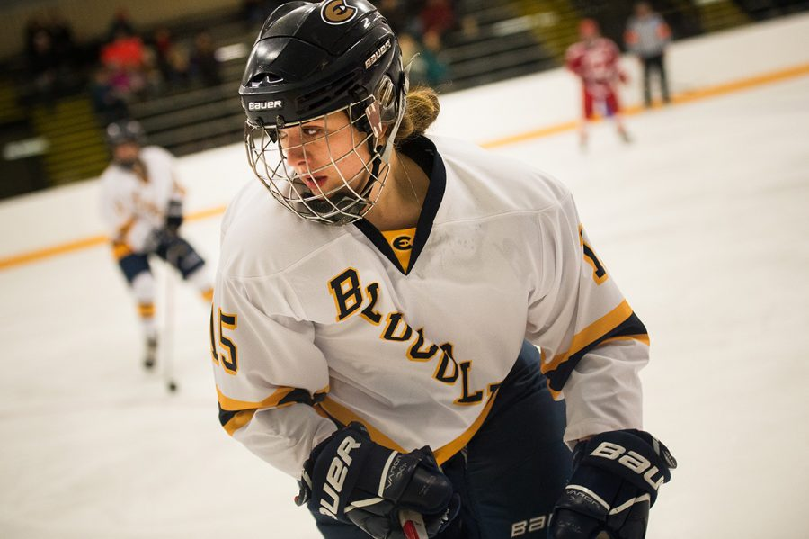 Currently, the Blugold Women's Hockey Team has 27 players, including Sadie Defatte, shown here.