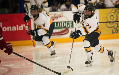 Blugold women's hockey player, Jaedyn Walz, stole the possession of the puck back from the opposing team this past monday at Hobbs ice area.