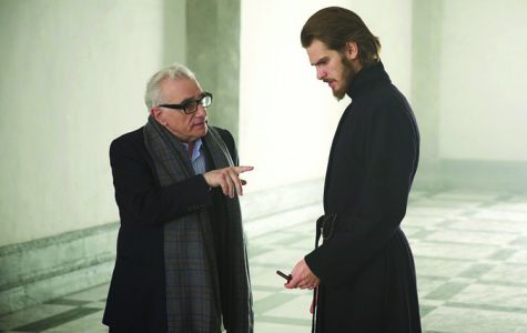 A still of Andrew Garfield and Martin Scorcese while filming for one of the early scenes of