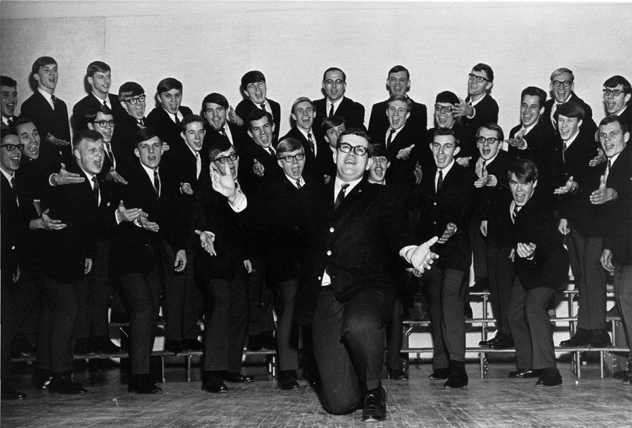 At UW-Eau Claire, students can join all-male, all-female or mixed vocal ensembles. Shown here is a male ensemble from the 1960s-1970s.