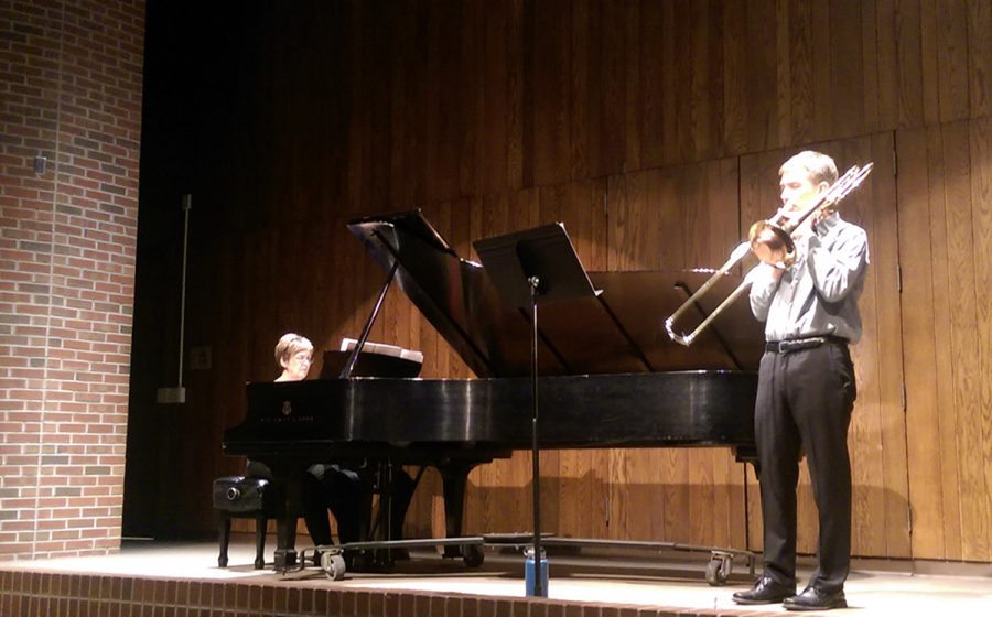 Phil Ostrander and Barbara Young performed together for Ostrander's recital Sunday. Music faculty normally hold one recital per year.
