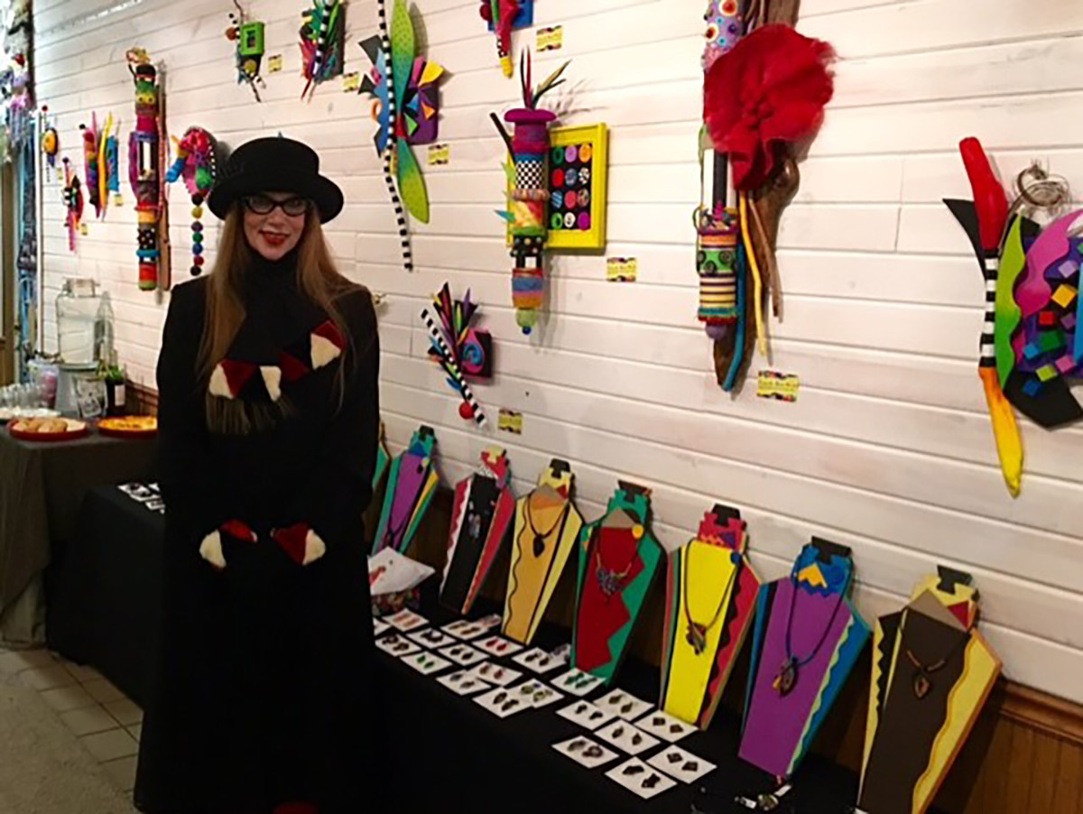Christy Skuban's collection features numerous pieces using bold colors with uncommon designs. Starting her career with jewelry making, she brought her unique style to her newest art medium: wall sculpture.