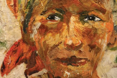 "One of Kay Geraghty's featured works as a part of her series ""People of Cuba."" Geraghty's work is on display at Volume One as part of the encaustic paintings exhibit."