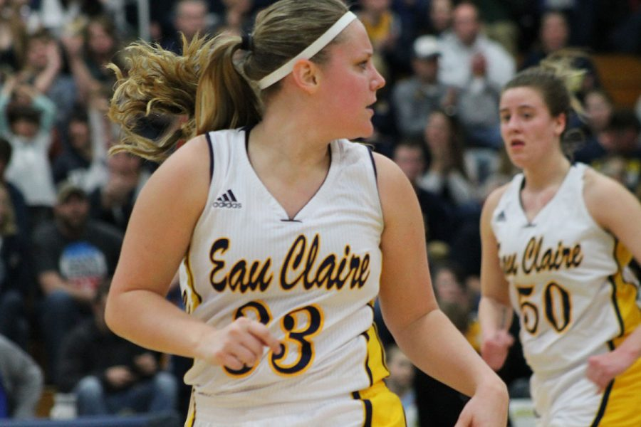 The+Blugolds+honored+the+team%E2%80%99s+four+seniors+for+their+last+regular+season+game%3A+Bree+Meier+and+Alleah+Voigt+%28pictured+above%29+as+well+as+Arien+Brennan+and+Ellen+Blacklock.