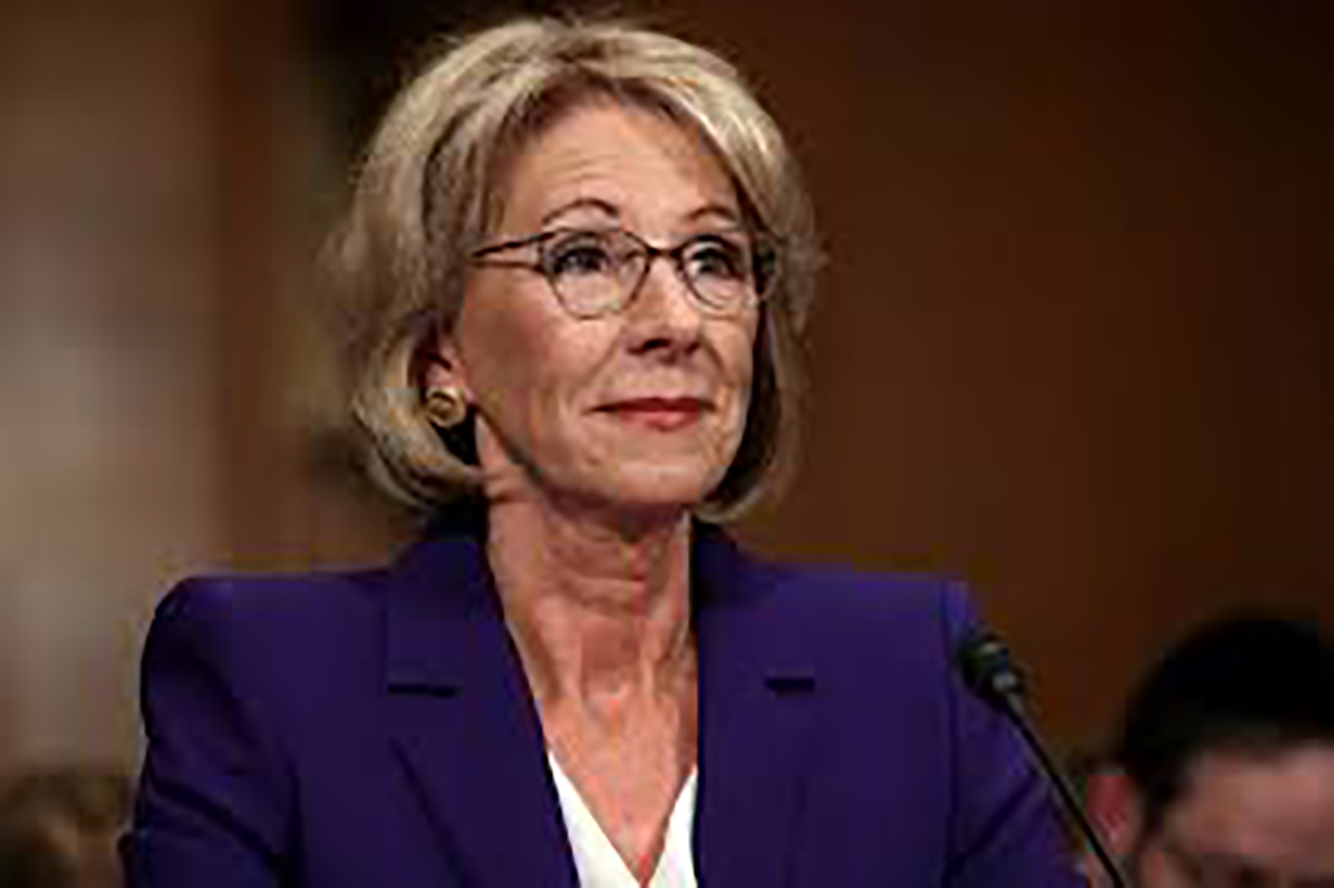 Betsy DeVos before the US Senate Committee on Health, Education and Labor Pensions during her hearing on Jan. 17.