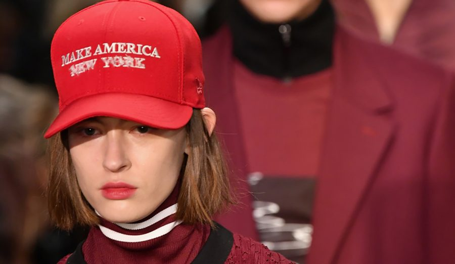 """Political statements were the new black at NYFW 2017. Pictured is a design by Public School, a clear nod and challenge to """"Make America Great Again"""" hats."""