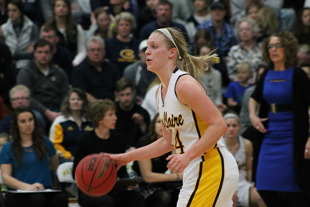 Arien Brennan heading down the court to benefit her team this past season.