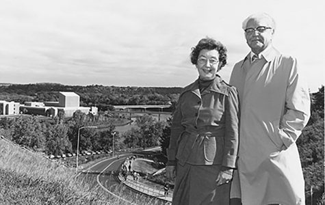 Pictured are Leonard and Dorellen Haas in October of 1978. Leonard Haas was president from 1959-1971 and chancellor from 1973-1980. Him and his wife have an International Student Scholarship and Study Abroad Scholarship set in their name. The Haas Fines Arts building was later named after the couple in 1986.