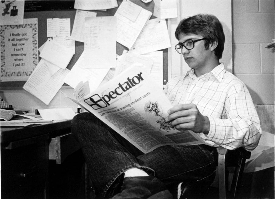 Student editor Mick Seidl reads The Spectator in 1978.