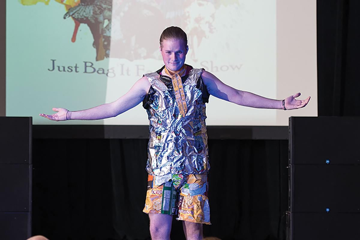 Each outfit submitted to the Just Bag It Fashion Show must be created out of recycled or repurposed materials. This year's show is 7 p.m. on Wednesday, March 29 in the Ojibwe Ballroom in Davies.