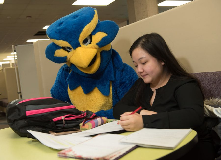 Blu can often be spotted on campus, interacting with the student body he represents.