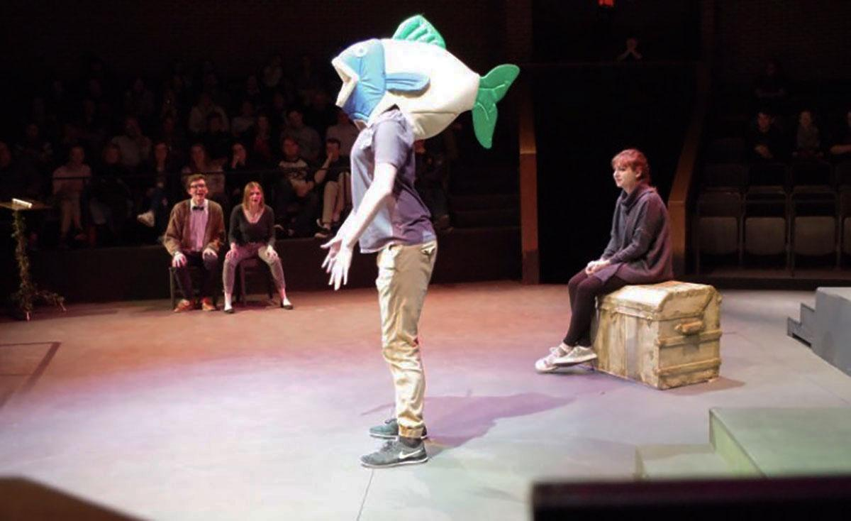 Narrators broke into a game show to determine who turned actor Tyler Kadlec into a talking fish during The Brothers Grimm Spectaculathon Saturday night.