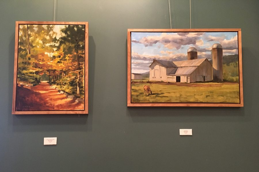 """Two of Marc Anderson's paintings, """"Justin's Dappled Path,"""" and """"Snack Time,"""" depict still images of rural life."""