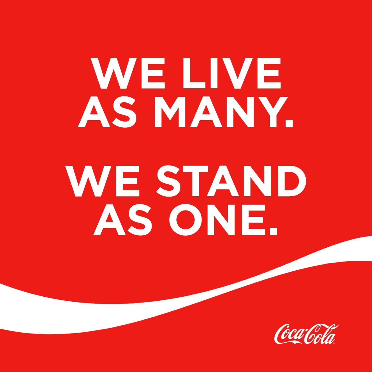 Coke often promotes unity or peace in their ads, but ultimately they want their unsuspecting consumers to purchase Coca-Cola and associate it with such universal concepts.