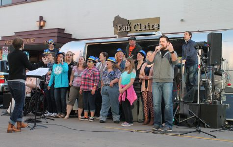 The gospel hip-hop group, CollECtive Choir, performed at the 2017 Eau Claire Jazz Festival Friday, April 21. The group performed in the middle of the road at the 300 block of S. Barstow.