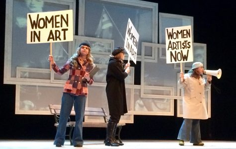 Clara (Olivia Haven), Debbie (Clara Kennedy) and Heidi (Kenzie Currie) protest the lack of representation of women artists.