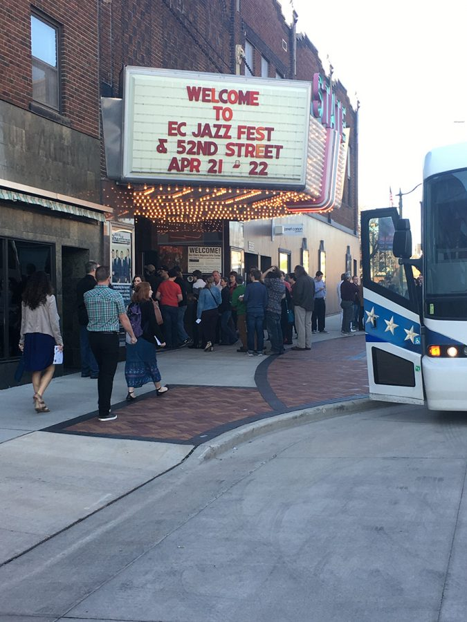 Crowds gathered outside the State Theatre before Saturday's Jazz Fest concert, which featured renowned jazz musicians, Doc Severinsen and Carl Allen.