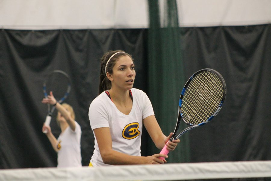No.+1+doubles+partners+Natalie+Wijesinghe+and+Sarah+Henderson+assisted+in+the+Blugolds%E2%80%99+9-0+sweep+against+the+University+of+Minnesota-Duluth+on+Friday.