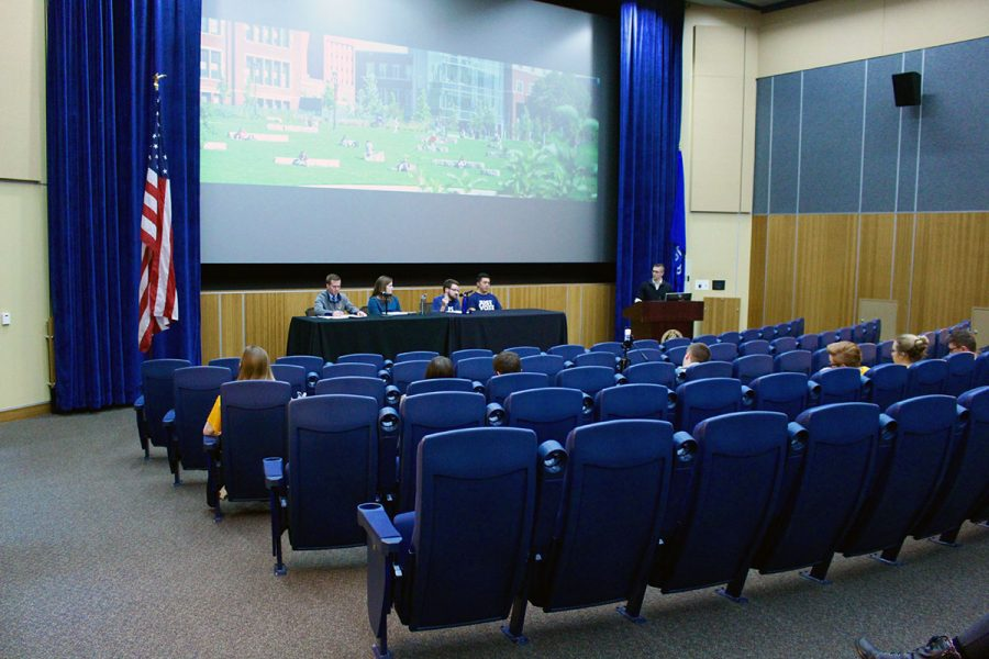 About 50 students, most of whom are part of Student Senate or are running for a position on Senate, were in attendance of the debate last Wednesday, held in the Woodland Theater.