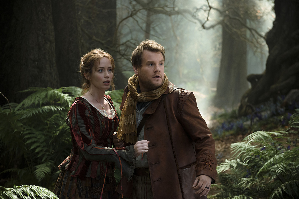 The baker (James Corden) and his wife (Emily Blunt) venture into the woods on a quest for magical objects.