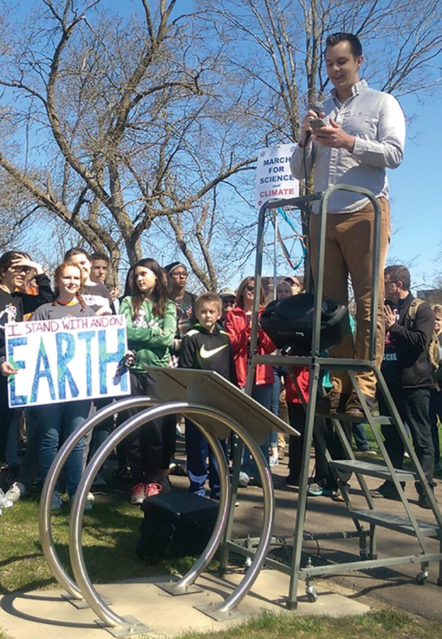 The Eau Claire Science March welcomed eight speakers throughout the route, one of them being Ethan Fuhrman, Student Office of Sustainability Director. The march started on the campus mall and finished at Phoenix Park.