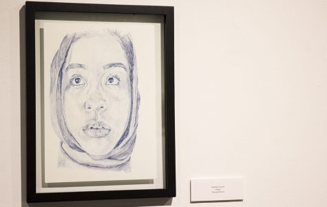 Array of student work featured in university gallery