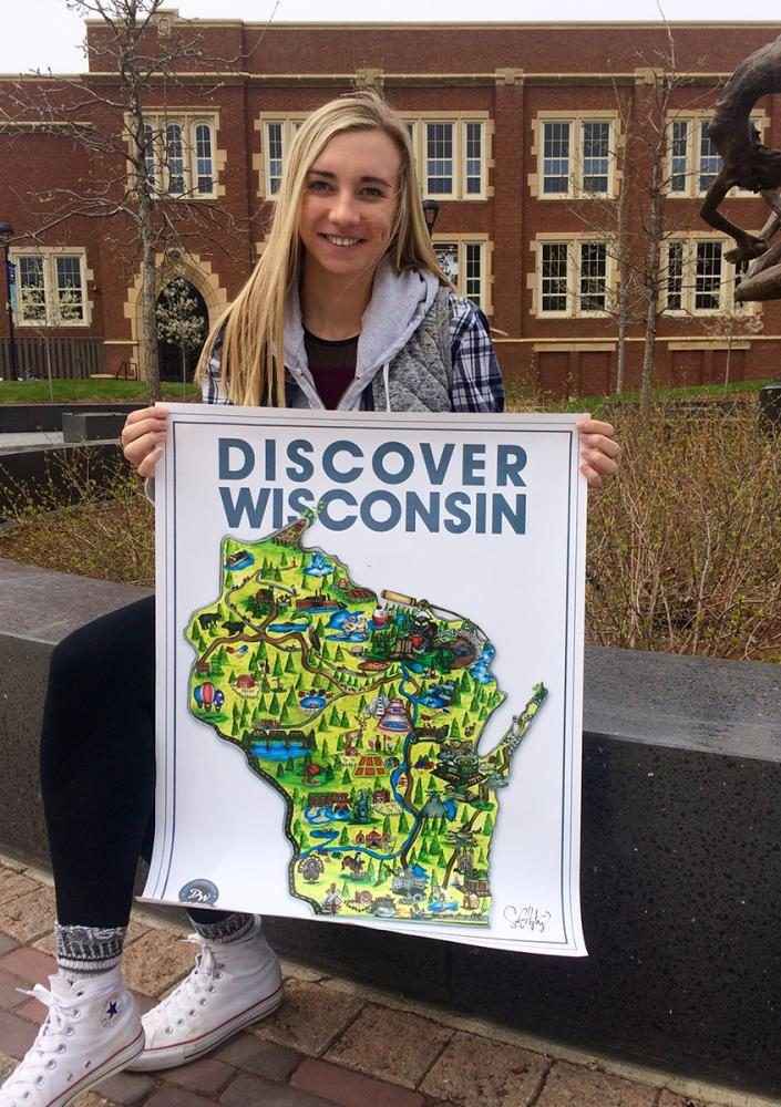 Freshman Samantha Hytry hand-drew a map of Wisconsin, showcasing its physical and natural landmarks.