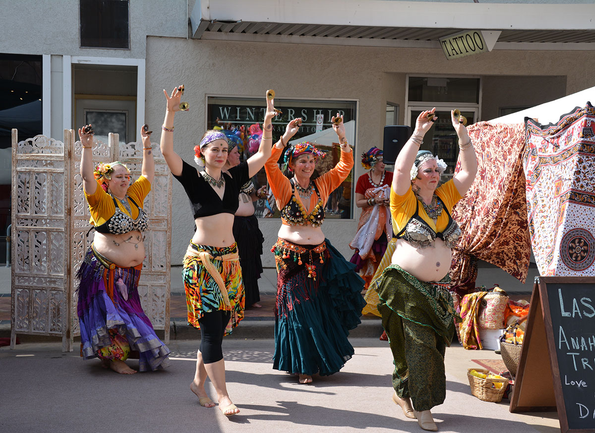 Women of the Lasa Anahata Tribal perform a dance for the festival-goers.