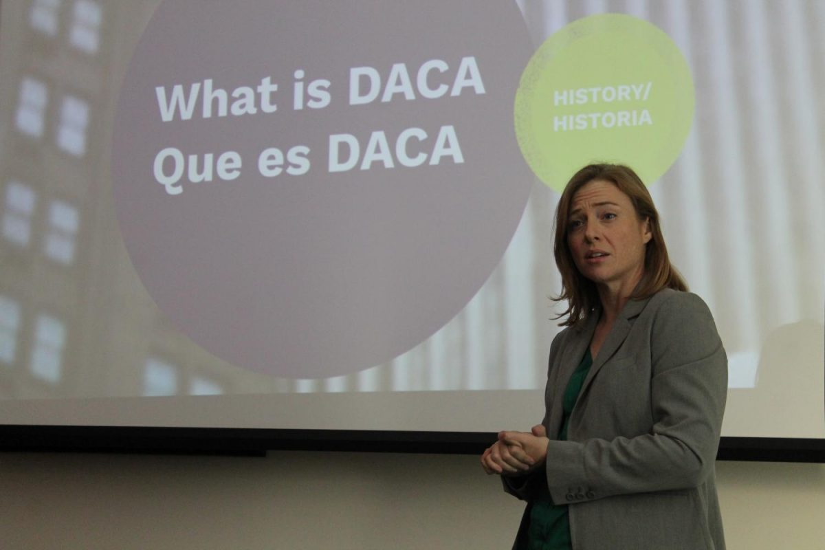 Kara+Lynum%2C+a+legal+attorney+from+the+Twin+Cities%2C+answered+questions+about+DACA+Wednesday+evening.