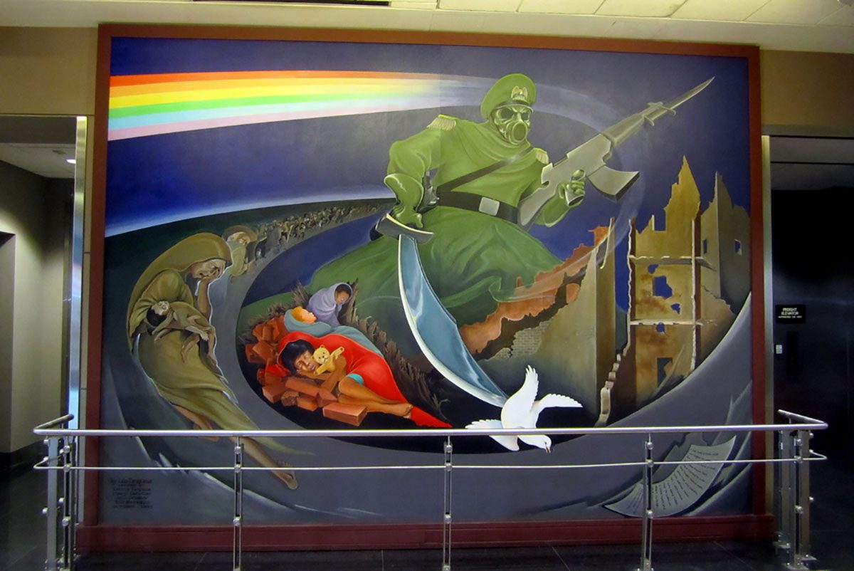 "The Denver International Airport is surrounded in conspiracies. Leo Tanguma's mural ""Children of the World Dream Peace"" is interpreted by conspiracy theorists as an omen of Armageddon."