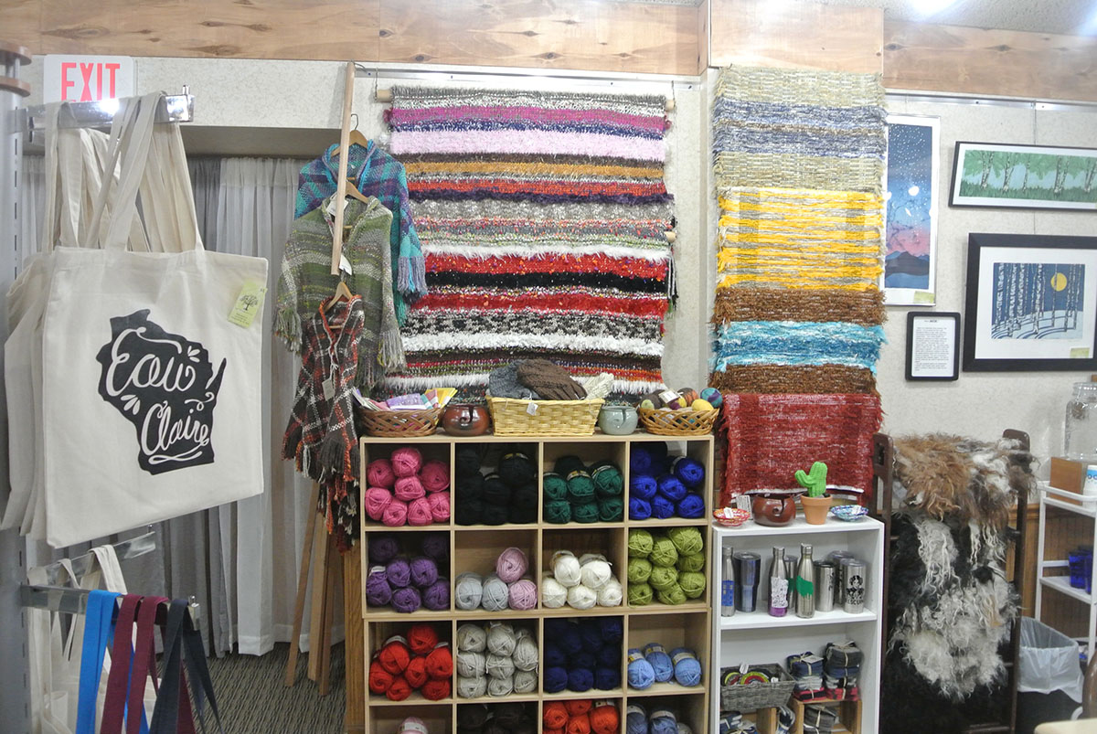 Business+partners+Jamie+Kyser+and+Erin+Klaus+opened+the+art+supply+store%2C+Blue+Boxer%2C+in+downtown+Eau+Claire+on+July+10.+The+store+sells+locally+made+yarns%2C+beads%2C+and+fibers%2C+on+top+of+many+other+craft-related+items.+