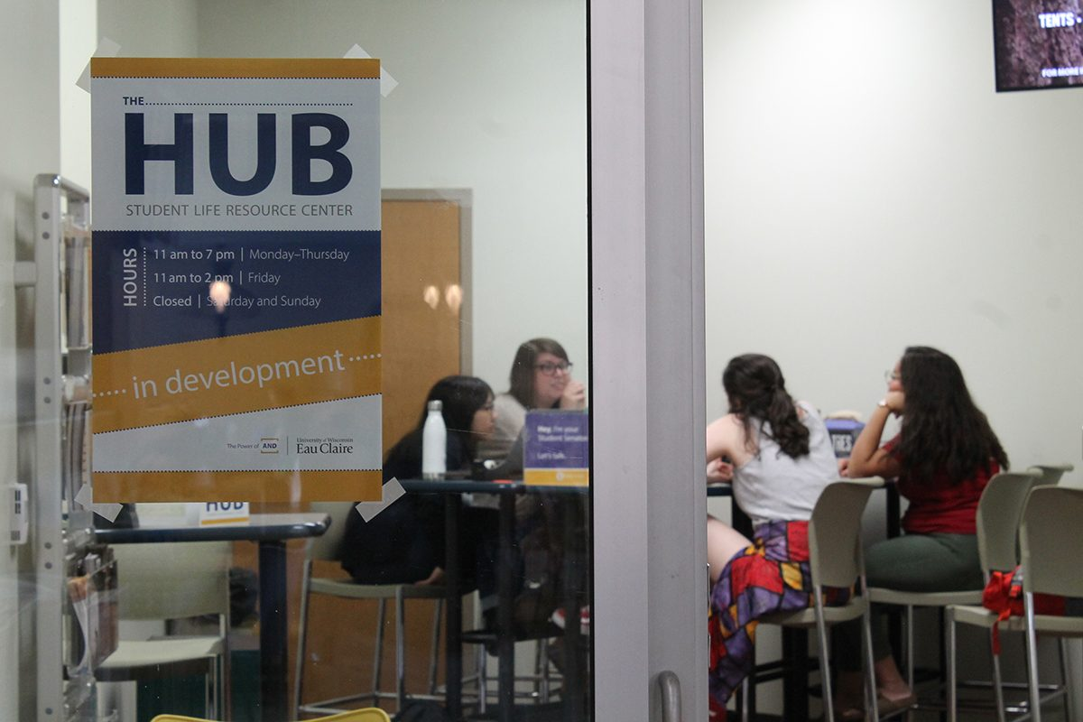 Student Senators sit in The Hub, located next to the Marketplace in Davies Student Center, to be available for students who have ideas, questions or concerns.