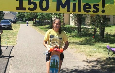 Josie Roll, a junior elementary and special education student, and Alexander Martin, a sophomore graphic communications student raise awareness for depression in teens by longboarding 150 miles from Duluth to Blain, Minnesota over the summer.