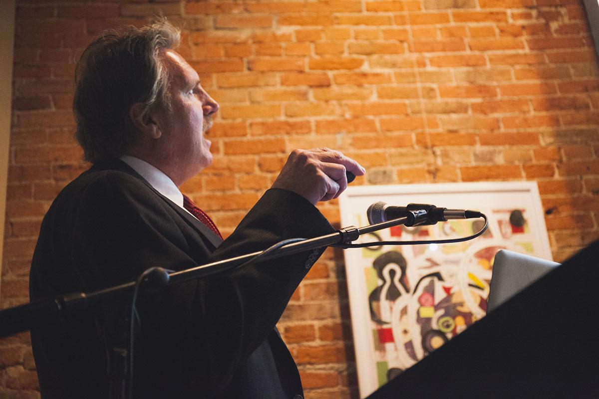 "Steve Spingola gives his presentation ""Psychology of Homicide"" at Volume One last Friday."