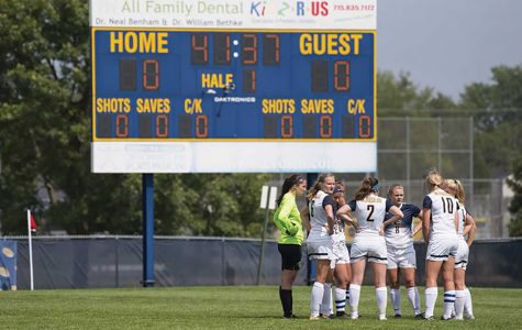 The blugold women's soccer team scored their first win of the season this past weekend, taking down Concordia Moorhead 2-0.