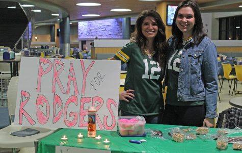 UW-Eau Claire students gathered on Thursday, Oct. 26 in the Davies Center for an Aaron Rodgers prayer vigil, hoping for the star quarterback's timely return to the field after suffering a collarbone injury on Oct. 16.