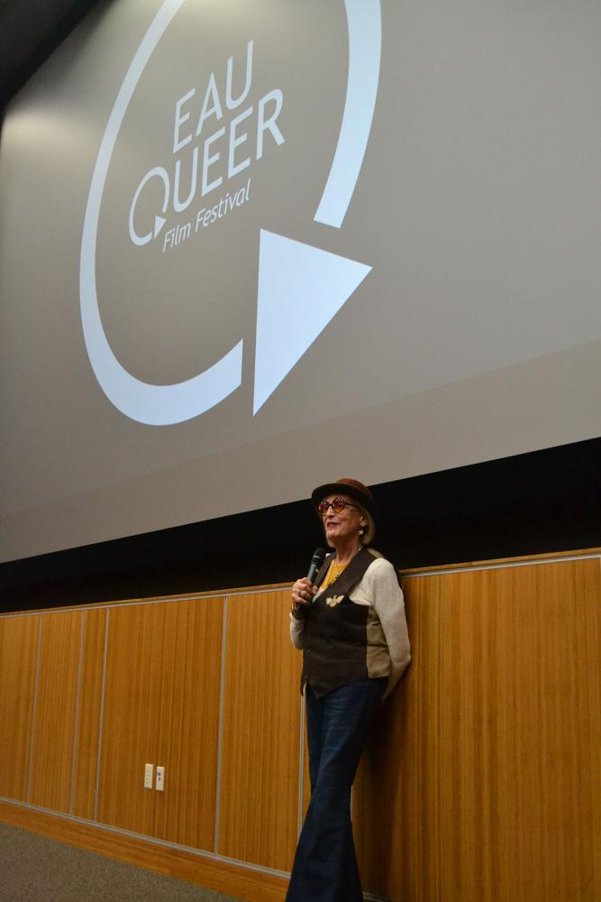 "Kate Bornstein answered questions from audience members about the film ""Saturday Church."""