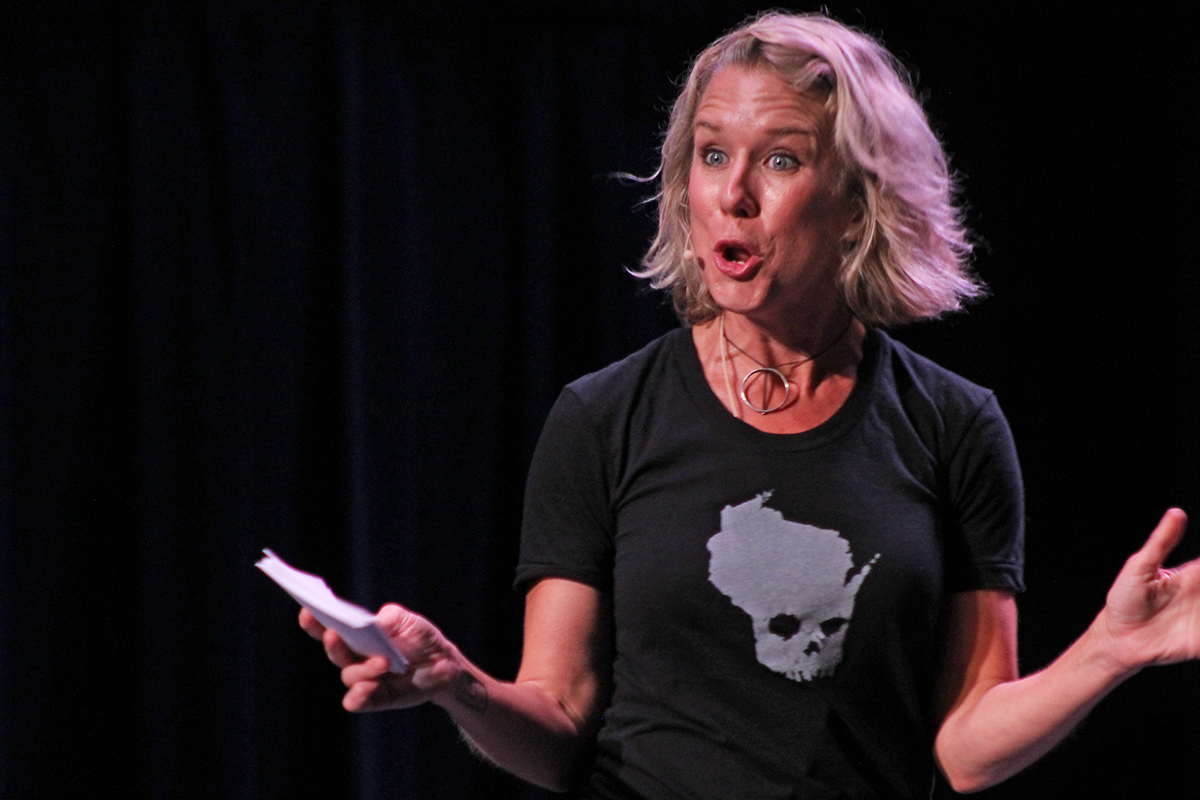 Comedian Lauren Weedman takes the stage in UW-Eau Claire's Schofield auditorium to share her experiences while in Eau Claire for her improv show.
