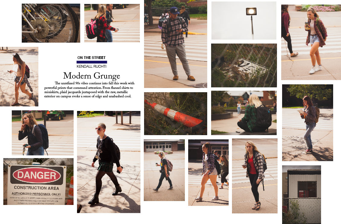 The unrefined 90s vibes continue into fall this week with powerful prints that command attention. From flannel shirts to miniskirts, plaid jacquards juxtaposed with the raw, metallic exterior on campus evoke a sense of edge and unabashed cool.