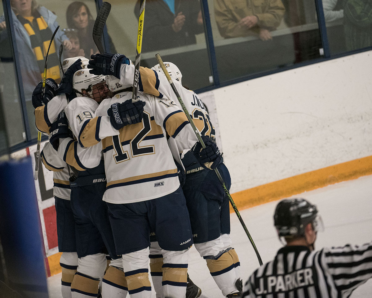 UW-Eau Claire's men's hockey team beat Lake Forest in overtime on Saturday.