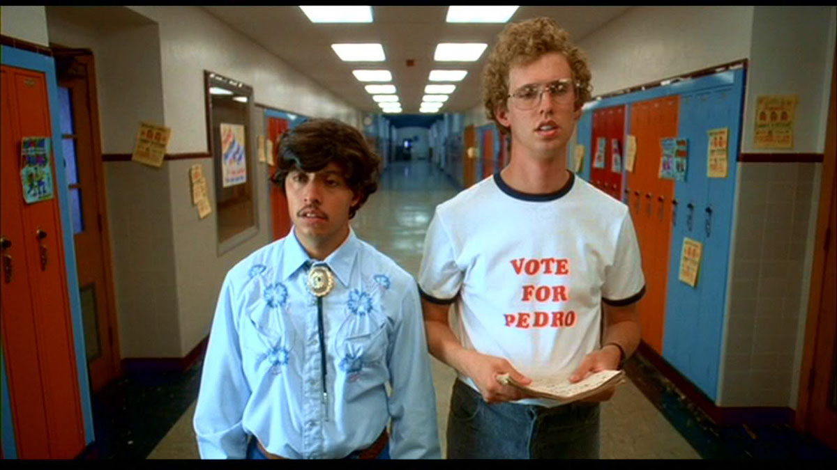 "In the classic comedy, ""Napoleon Dynamite,"" Jon Heder stars as a socially awkward 16-year-old trying to navigate the ups and downs of high school while balancing a hectic home life."