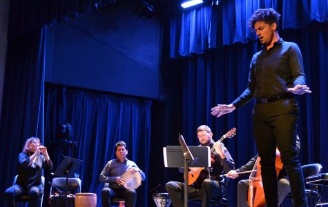 The five members of Me La Amargates Tú (Estaban Manzano, Doret Florentin, Tulio Rondon, Dieter Hennings and Juan Martinez) performed songs with emotion and culture Tuesday evening in Schofield Auditorium.