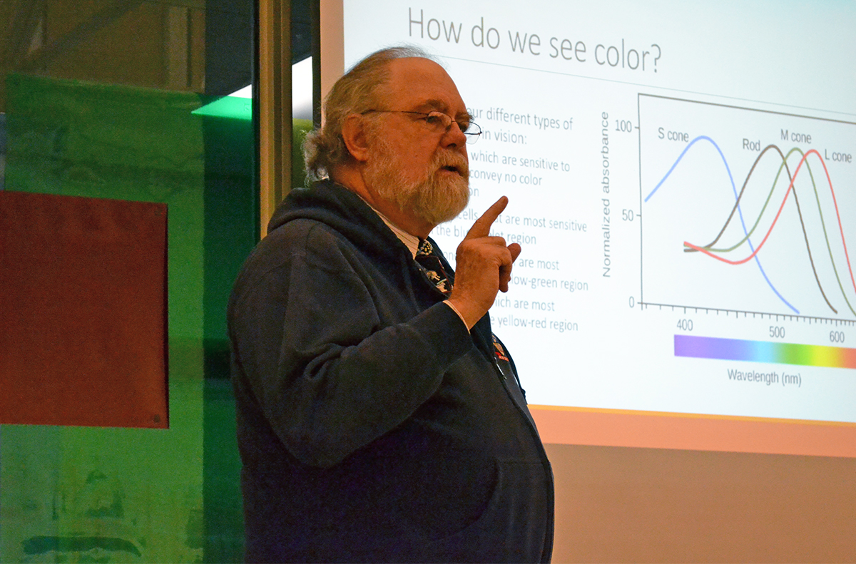 Chemistry professor David Lewis shared how chemistry affects color and technology at the Foster Gallery.