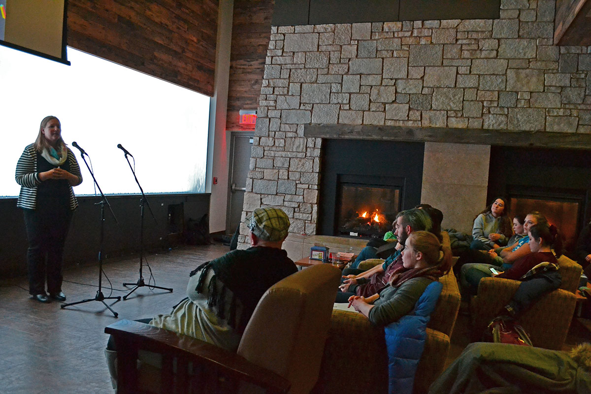 Students gather at The Cabin to discuss feminism during the Gender and Sexuality Resource Center's monthly Feminism on Tap.