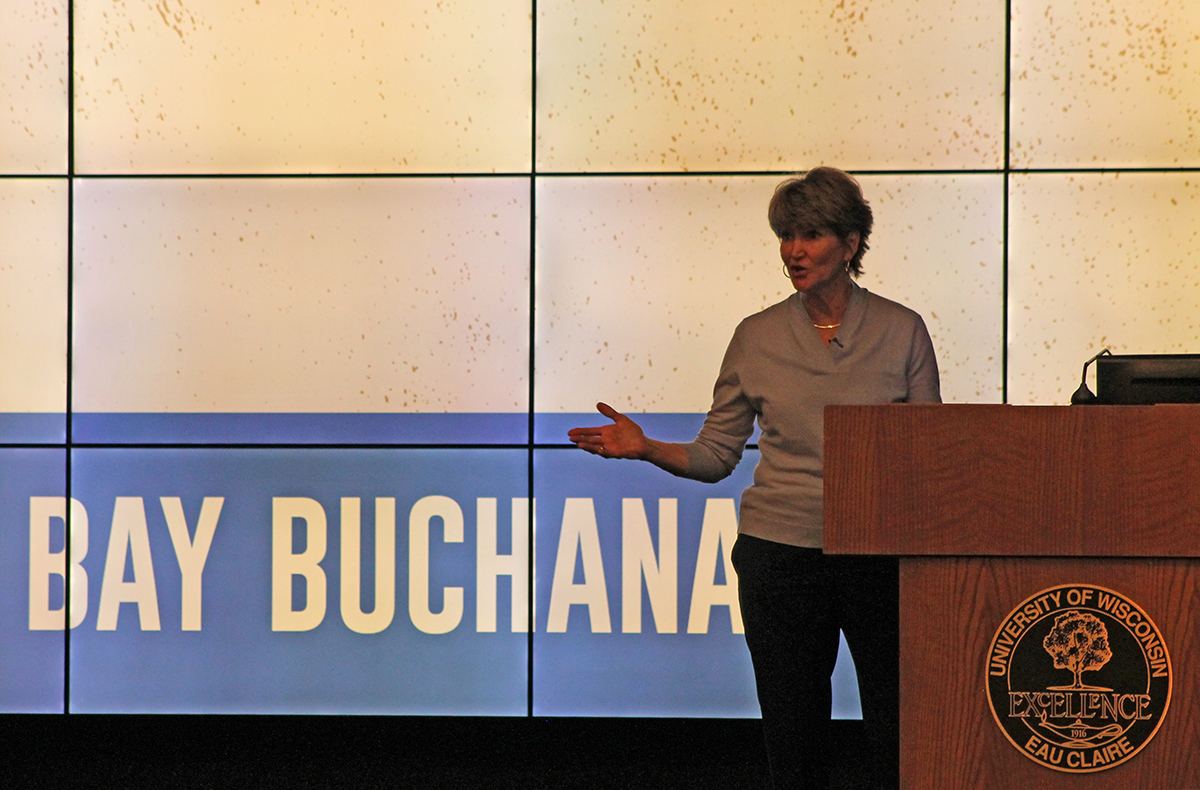 Students and community members gathered in Schofield Auditorium to hear Bay Buchanan's talk on political issues that have gone unaddressed.
