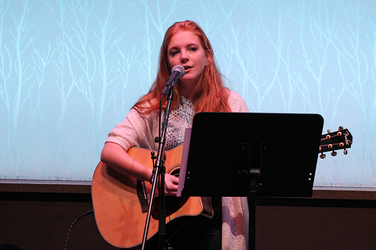 Student performer Abbie Sonstegard was the first of three musicians at the event.