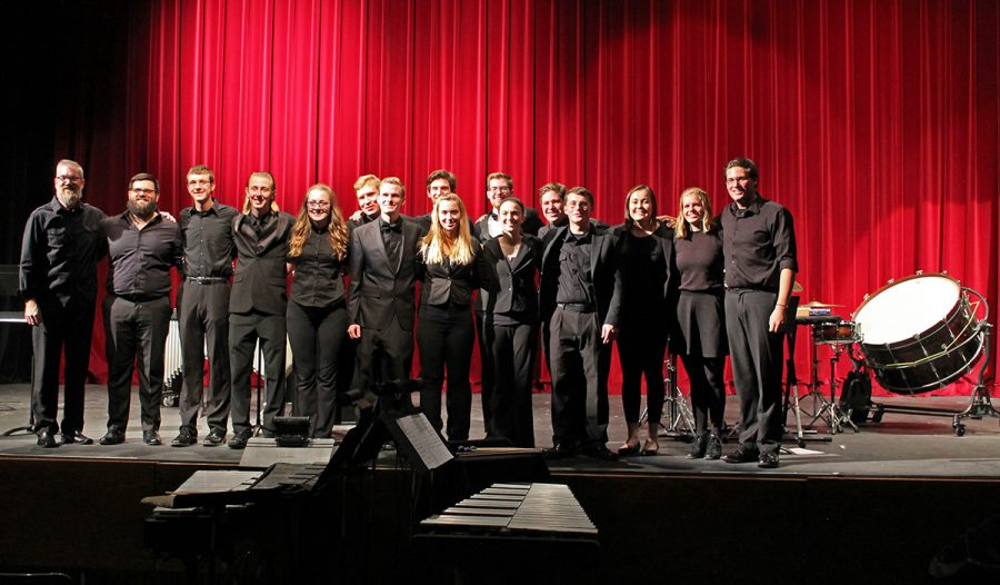 A+group+of+17+UW-Eau+Claire+students+played+five+songs+during+the+concert+under+the+direction+of+Conductor+Jeffery+Crowell.